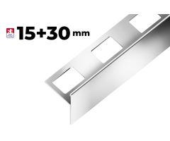 """Nerezová schodová lišta Step """"T"""", h1=15mm,h2=30mm,š=45mm,d=2,7m"""