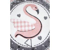 Dětský kusový koberec Kiddy Flamingo 120 cm kruh
