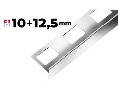 """1 Nerezová schodová lišta Step """"T"""", h1=10mm,h2=12,5mm,š=25mm,d=2,7m"""