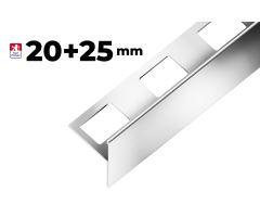 """Nerezová schodová lišta Step """"T"""", h1=20mm,h2=25mm,š=25mm,d=2,7m"""