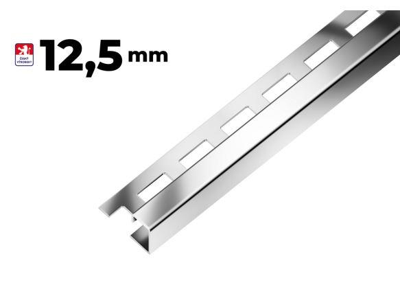 Ukončovací profil hrana 12,5mm, nerez - kartáčovaná